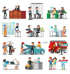 colorful professions and occupations collection vector image vector image