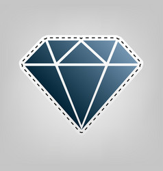 Diamond sign blue icon with vector