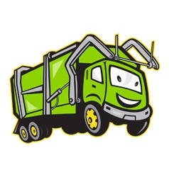 Garbage rubbish truck cartoon vector