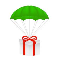 Gift box at green parachute vector