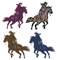 Girl jockey set vector image