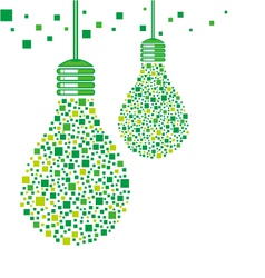 Green light bulb design vector image