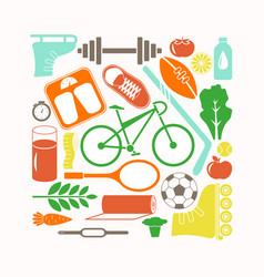 Healthy lifestyle and sport icons set vector