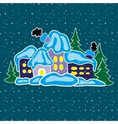 House in winter forest vector image