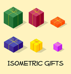 Isometric gift box and presents set vector