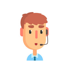 Male call center agent online customer support vector