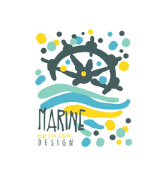 Marine or yacht club logo design with abstract vector