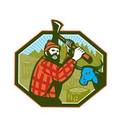 Paul bunyan lumberjack axe blue ox vector