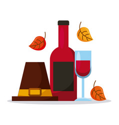 Pilgrim hat with wine bottle glass and autumn vector