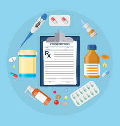 Pills bottles tablets with medical prescription vector image
