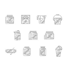 sports nutrition flat line icons set vector image