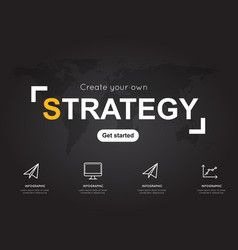 Strategy icons with world black map for business vector