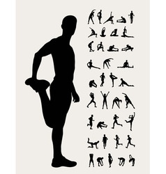 Stretching silhouettes vector