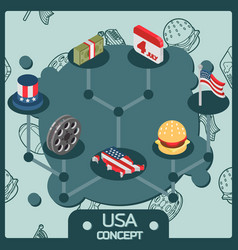 usa color isometric concept icons vector image vector image