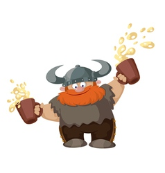 viking with two beer vector image vector image