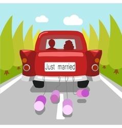 Wedding car just married cartoon vector image