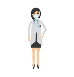 Woman doctor medical mask vector