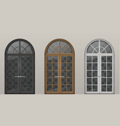 wooden arched doors vector image