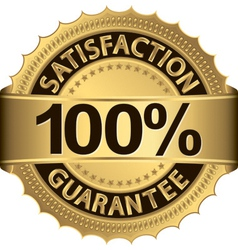 100 percent satisfaction guarantee golden sign wit vector image