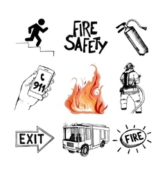 Fire safety and means of salvation icons set vector