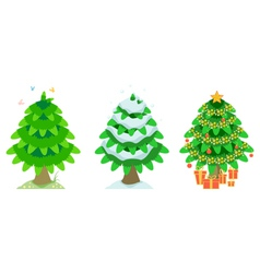 Spruce in the summer and winter and christmas vector image