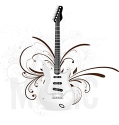 Guitar icon with floral elements vector