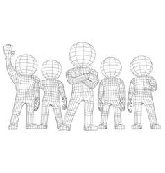 Puppet 3d men five friends vector