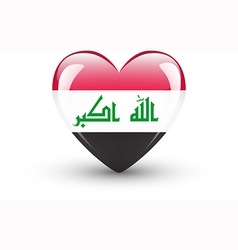 Heart-shaped icon with national flag of iraq vector