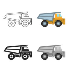 haul truck icon in cartoon style isolated on white vector image