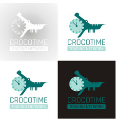 crocodile alligator animal icon set collection vector image