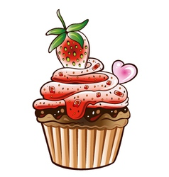 Muffin cupcake strawberry vector