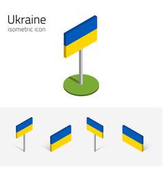 Ukraine flag set of 3d isometric icons vector