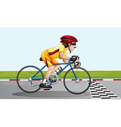 A biker near the finish lane vector