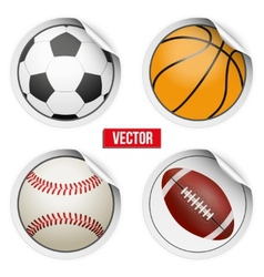 Sports round stickers balls with shadows equipment vector