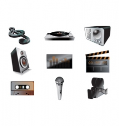 Music audio icon set vector
