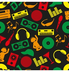 Music club dj color icons seamless pattern eps10 vector