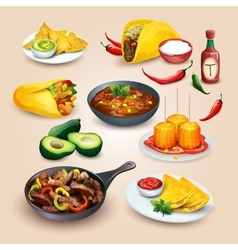 Mexican food objects set vector