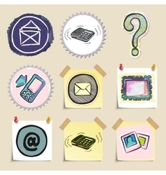 Communication icons set hand drawn and isolated vector