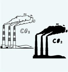 Emission from coal power plant vector