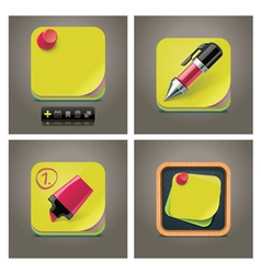 Sticky note icon set vector