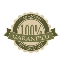 Garanteed vintage green round tag vector