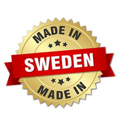 Made in sweden gold badge with red ribbon vector