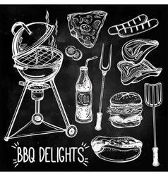 Barbecue food set line art vector image vector image