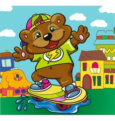 Bear skateboarder on a colored background vector