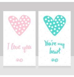 Beautiful hand drawn love cards with dotted hearts vector image vector image