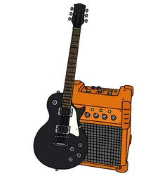 Black electric guitar and the combo vector image vector image