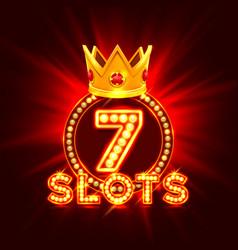 Casino slots jackpot 7 signboard vector
