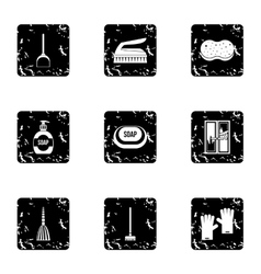 Cleaning services home icons set grunge style vector