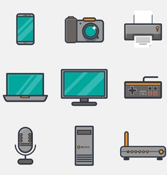 Computers icons thick line vector