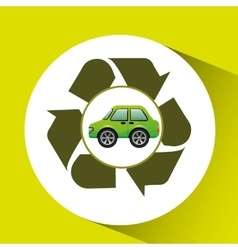 Eco car icon environment recycle symbol vector